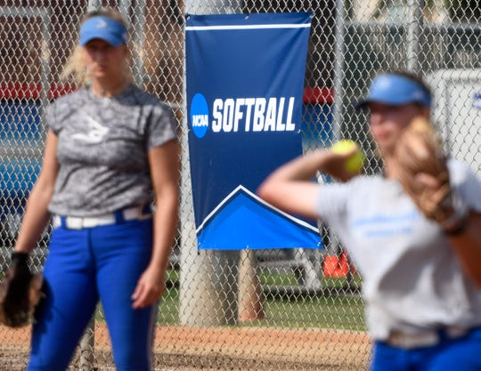 A NCAA softball sign hangs near first base during the Texas A&M-Kingsville softball team practice, Tuesday, May 12, 2019, in Kingsville.