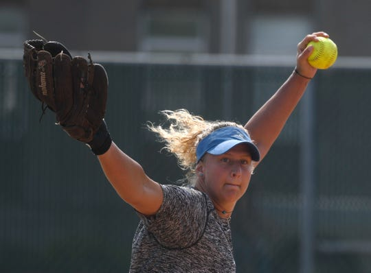 Texas A&M-Kingsville junior pitcher Breanna Smith practices, Tuesday, May 12, 2019, in Kingsville.