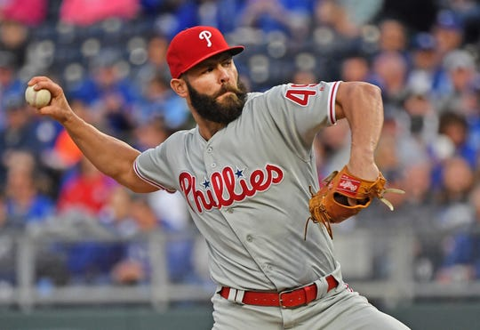 May 10, 2019; Kansas City, MO, USA; Philadelphia Phillies starting pitcher Jake Arrieta (49) delivers a pitch during the first inning against the Kansas City Royals at Kauffman Stadium. Mandatory Credit: Peter G. Aiken/USA TODAY Sports