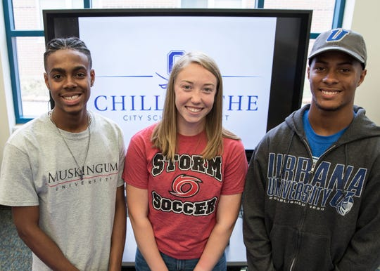 (L-R) Joshua Howard, Jayla Brown, and J'Quan (JJ) Harris all signed their letters of intent to play a sport collegiately at Chillicothe High School on May 14, 2019. Howard plans to play soccer and run track, Brown intends to play soccer, and Harris plans on playing football.