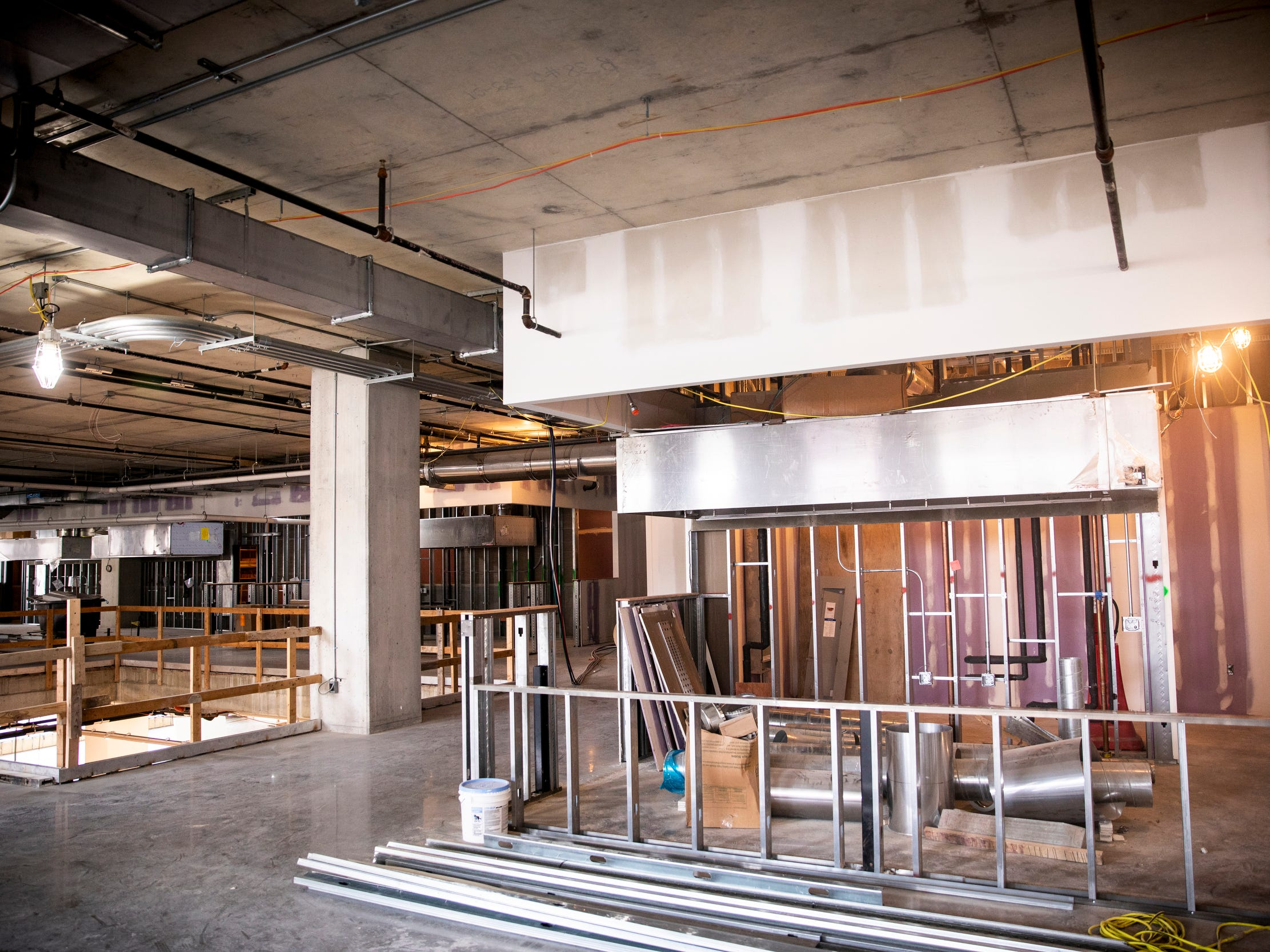 The Food Hall on the second floor will be occupied by five local vendors. There will be seating for approximate 100 people.