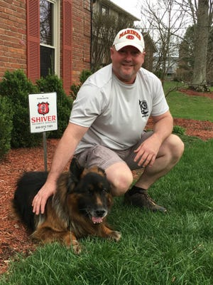 Retired Hamilton County Sheriff's Department Sgt. with his former partner, Matzi. The cost of end-of-life care for Matzi by a fund for military and police dogs.
