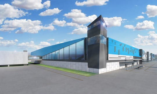 An artist rendering provided by Amazon after a May 14, 2019 groundbreaking at Cincinnati/Northern Kentucky International Airport shows what part of a new 3-million-square foot Prime Air cargo hub will look like when completed in 2021.