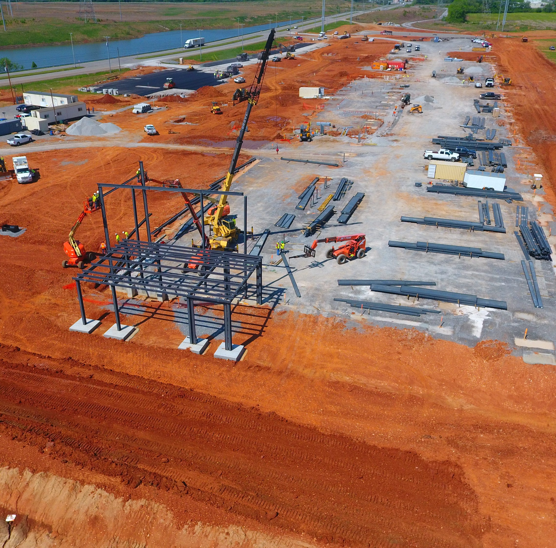 Construction progress visible at Clarksville's AtlasBX plant