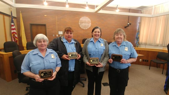South Brunswick crossing guards left to right  Anne Villanova, Susan Kavarsky, Julie Marchesani and Linda Kelly were recently honored by the South Brunswick Police Department.