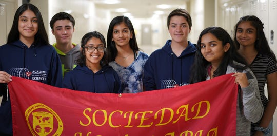 National Spanish Exam gold medalists (l-r) Nabiya Chaudhry of Bridgewater, Benjamin Tankel of Warren, Dhruvi Mehta of Princeton, Rima Amin of Bridgewater, Christopher Masiello of Hillsborough, Bhavya Deshaboina of Belle Mead and Ashrita Jagarlamudi of Somerset.
