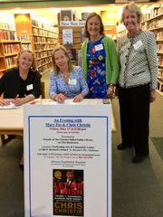 """Committee members of the Friends of The Clarence Dillon Public Library prepping for """"An Evening with Mary Pat and Chris Christie"""" to benefit the Dillon Library to be held at 6 p.m. on Friday, May 17,at Gill St. Bernard's School in Gladstone. (Left to right) Lucy Engebretson of Peapack, Carolyn von Meister of Pottersville, Friends President Eleanor Diemar of Bedminster and Tabby Cochran of Far Hills."""