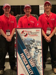 Pictured from left to right, Patrick Willey, Christopher Scheuerman and Austin Tarby celebrate a second-place win at the National Automotive Technical Competition. Tarby and Willey are in the Automotive Technology program at Hunterdon County Polytech Career and Technical School, and Scheuerman is their instructor.