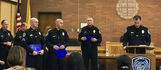 South Brunswick Sgt. Michael Kuchma, Officer Craig Cleffi received awards from  Police Chief Raymond Hayducka, and Captain Ron Seaman.