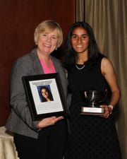 SCVTHS Principal Diane Ziegler (left) and Sonia Purohit pose for a picture during the scholar athlete reception.