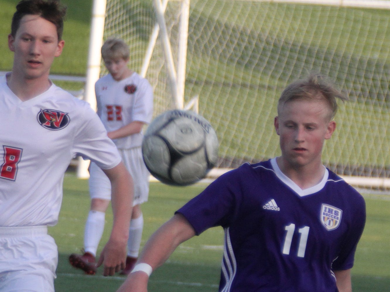 Indianola junior Peyton Boozell clears the ball. Indianola beat Newton 2-0 at home in a Little Hawkeye Conference game.