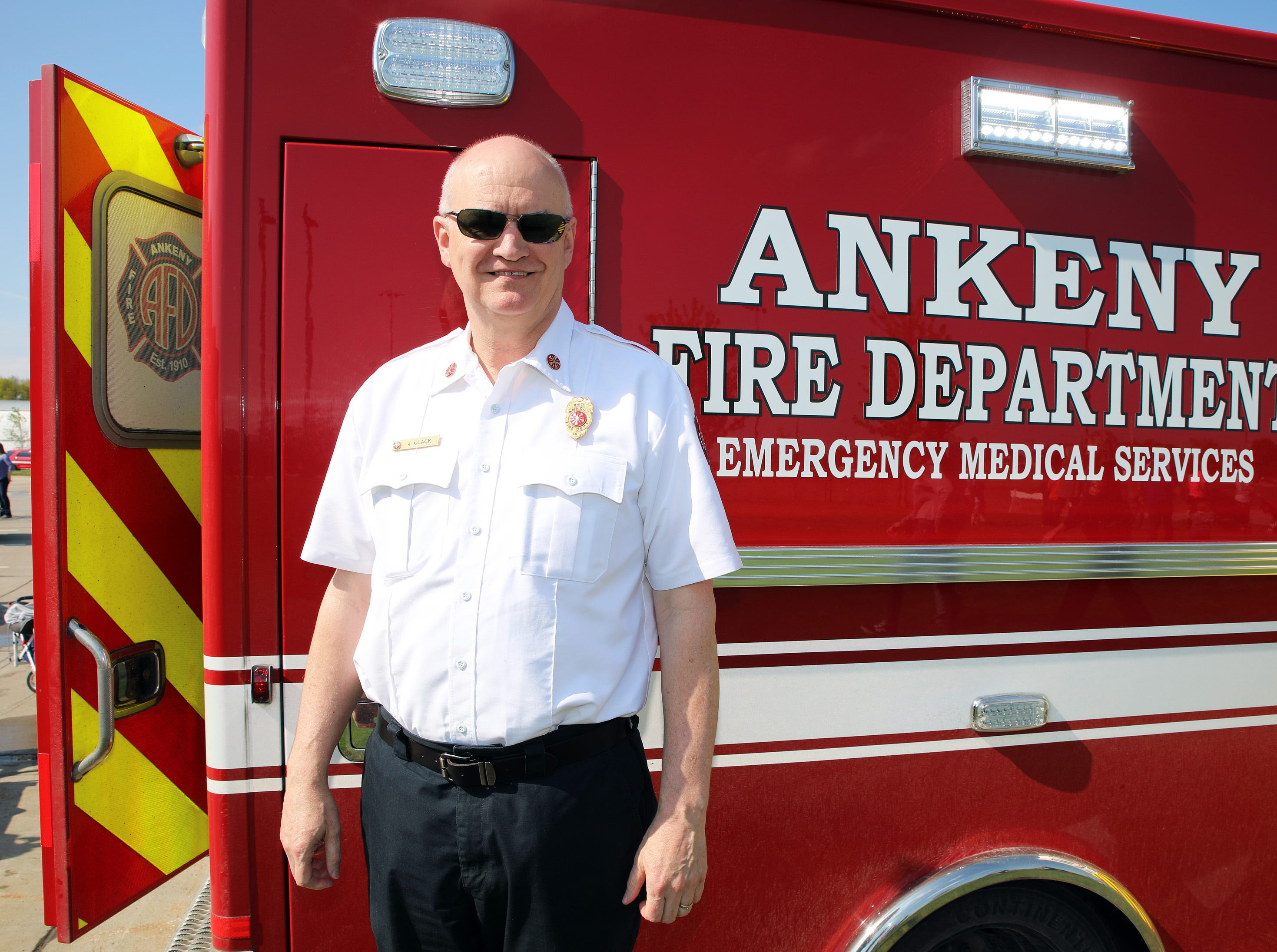 Ankeny Fire Chief James Clack stops by at the Ankeny Police Week Community Picnic on Tuesday, May 14, 2019 at the Ankeny Police Headquarters located at 411 SW Ordnance Road. The event featured a tour of the police station, magician Jonathon May, free Chick Fil-A sandwiches for the first 1,000 guests, free Kona Ice, temporary tattoos, and a great opportunity to meet the officers who protect and serve the city of Ankeny.