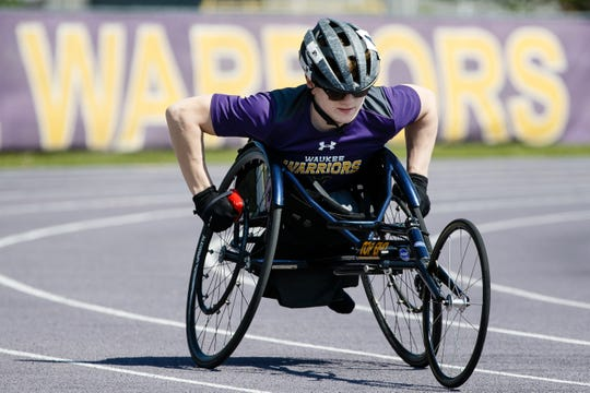 """Now that I have a chance to do stuff with people like me and I am actually good at it too, it's fun,"" said Evan Correll, a wheelchair track athlete from Waukee. For the first year Iowa is offering four track races to wheelchair athletes and Correll has a chance to win all of them. Here he trains for the start of the 800 meter on Tuesday, May 14, 2019, in Waukee."