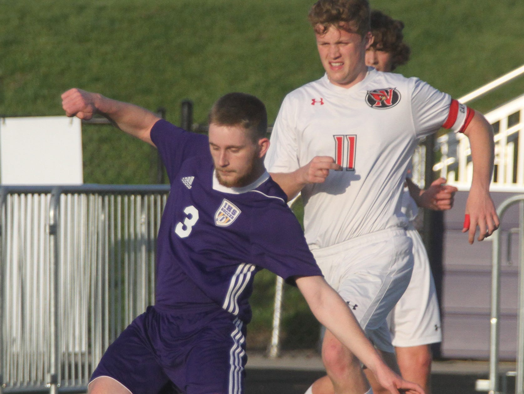 Indianola senior Parker Hansen fires a shot. Indianola beat Newton 2-0 at home in a Little Hawkeye Conference game.
