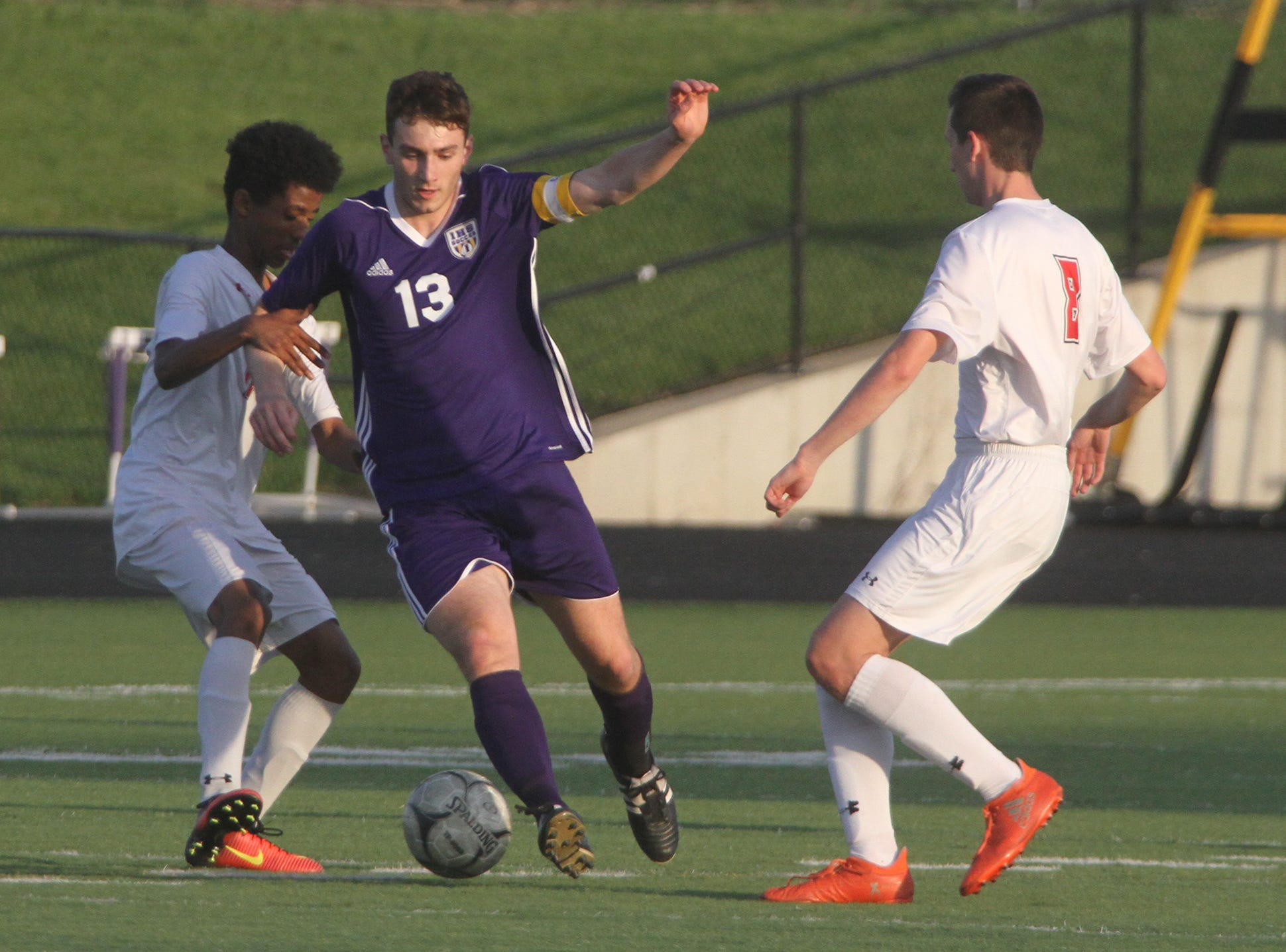 Indianola junior Andreas Miller works his way up the field. Indianola beat Newton 2-0 at home in a Little Hawkeye Conference game.