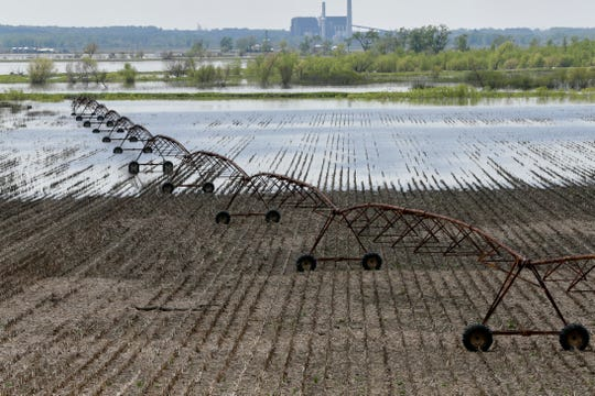 Floodwaters from the Missouri River cover fields north of Hamburg, Iowa, on Friday, May 10, 2019.