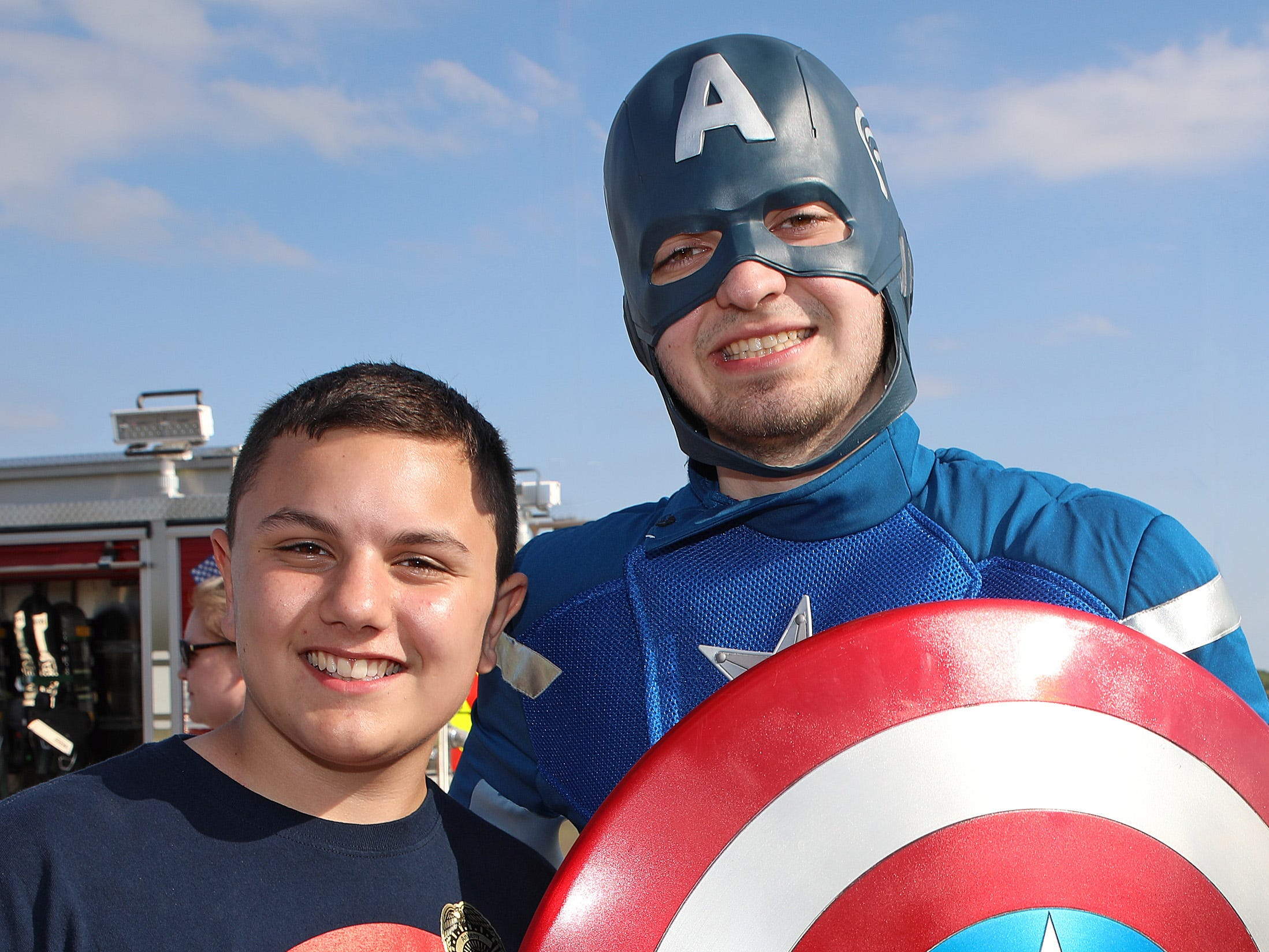 Captain America meets one of his fans, Henry Dyer, 13, of Ankeny at the Ankeny Police Week Community Picnic on Tuesday, May 14, 2019 at the Ankeny Police Headquarters located at 411 SW Ordnance Road. The event featured a tour of the police station, magician Jonathon May, free Chick Fil-A sandwiches for the first 1,000 guests, free Kona Ice, temporary tattoos, and a great opportunity to meet the officers who protect and serve the city of Ankeny.