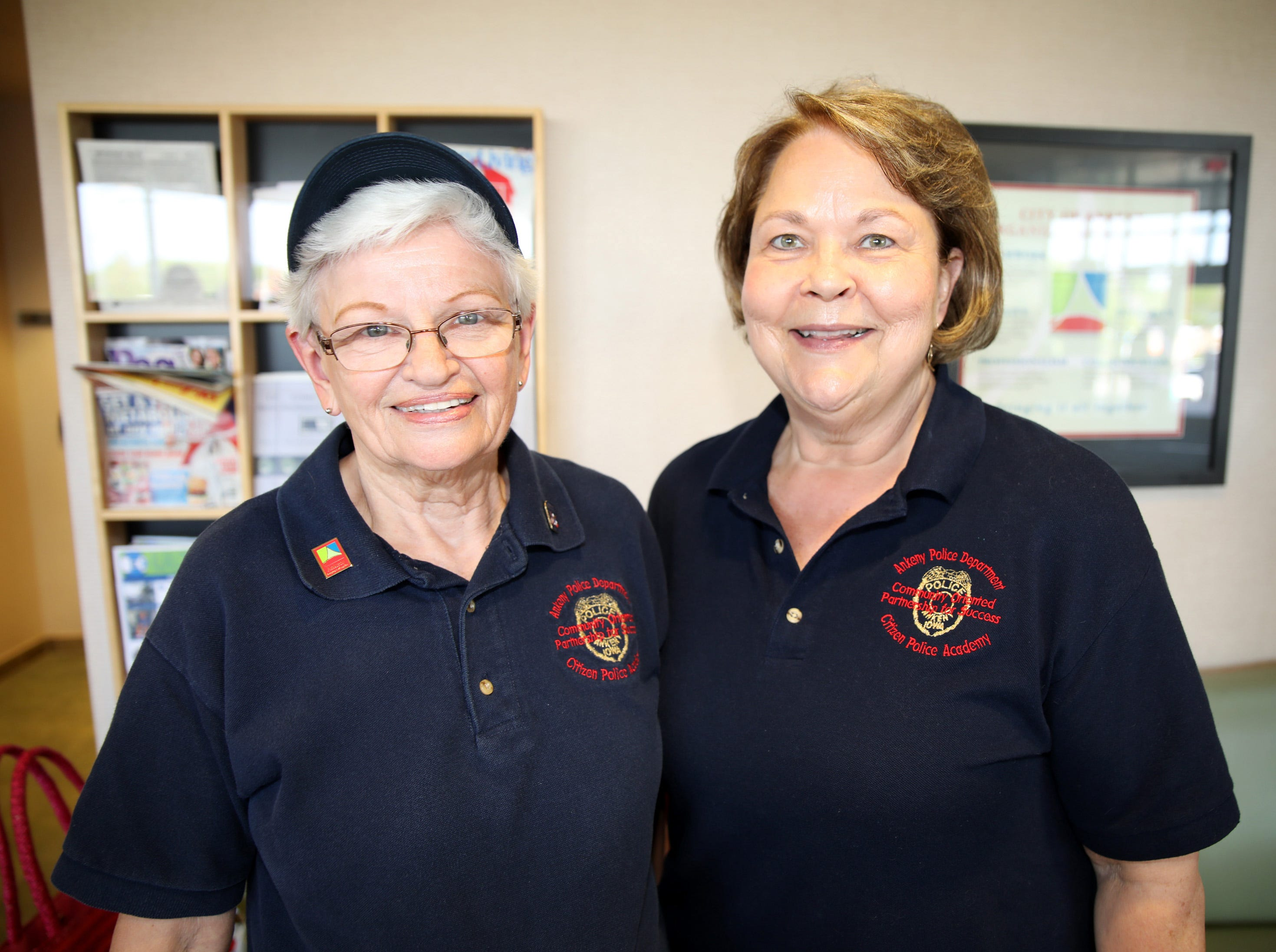 Barb Garland, left, and Jill McCarty of Ankeny Citizen's Police Academy help organize the tours of the police station during the Ankeny Police Week Community Picnic on Tuesday, May 14, 2019 at the Ankeny Police Headquarters located at 411 SW Ordnance Road. The event featured a tour of the police station, magician Jonathon May, free Chick Fil-A sandwiches for the first 1,000 guests, free Kona Ice, temporary tattoos, and a great opportunity to meet the officers who protect and serve the city of Ankeny.