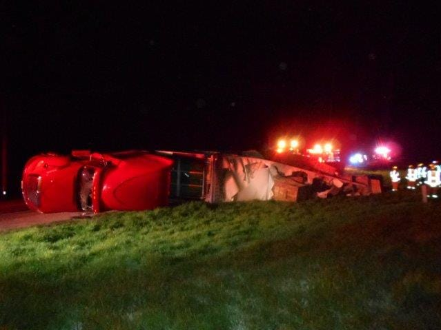 Approximately 2,500 chickens were killed Tuesday, May 14, after a semi truck overturned in Fayette County.