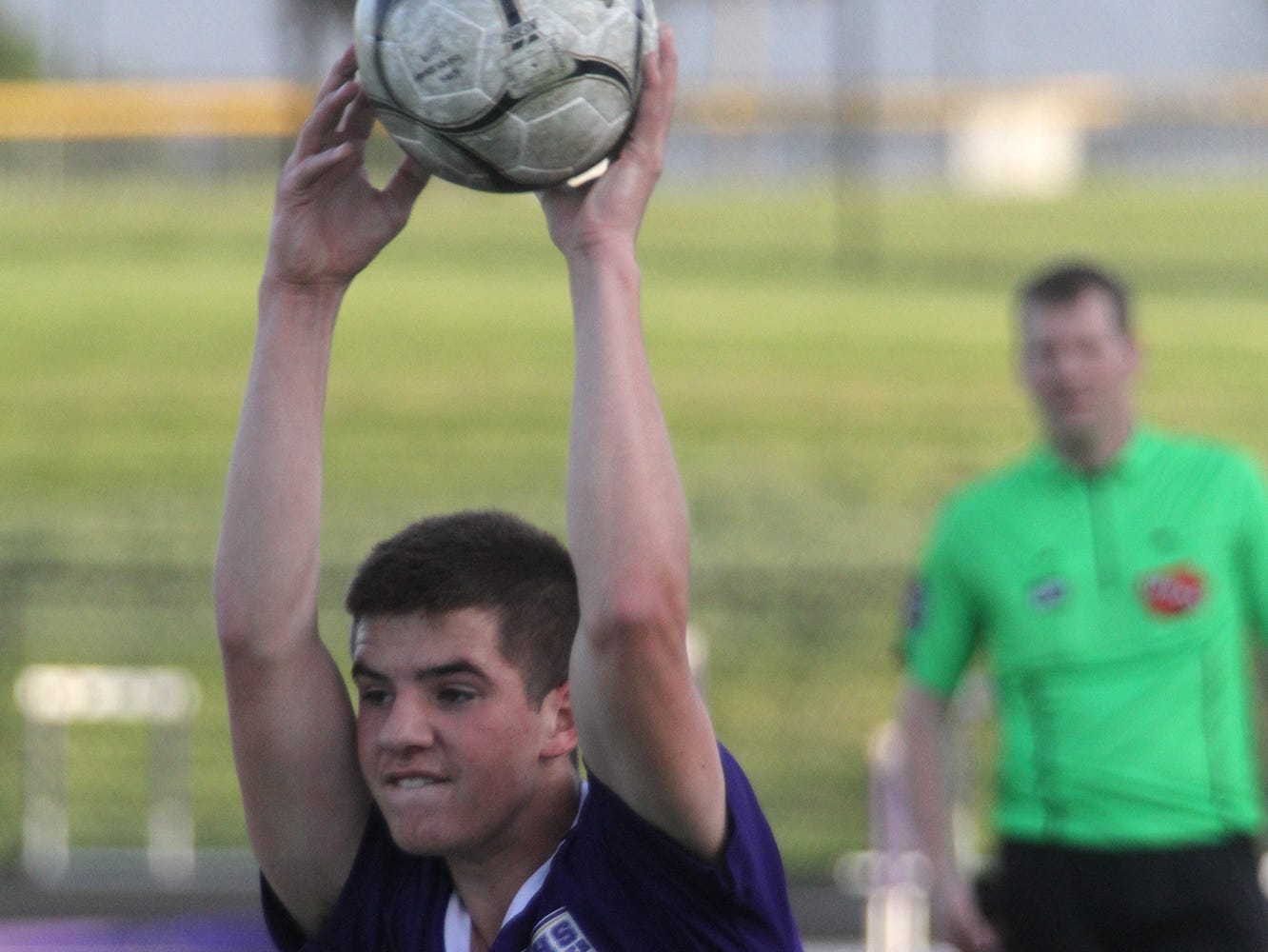 Indianola junior Brayden Beinhart inbounds the ball. Indianola beat Newton 2-0 at home in a Little Hawkeye Conference game.