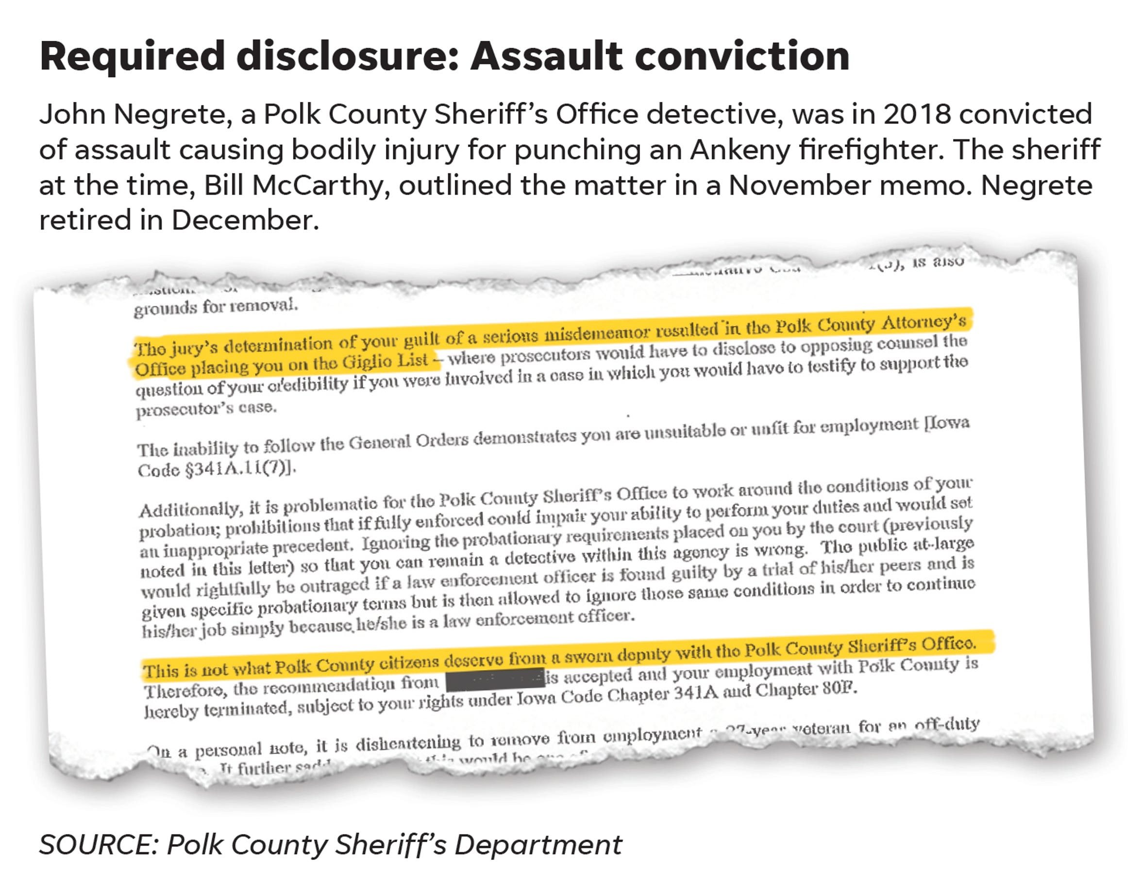 Required disclosure: Assault conviction
