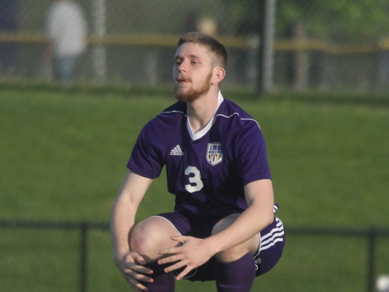 Indianola senior Parker Hansen gets loose before the start of the game. Indianola beat Newton 2-0 at home in a Little Hawkeye Conference game.