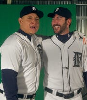 Miguel Cabrera, left, and pitcher Justin Verlander during media day in Lakeland, Fla., Feb. 28, 2015.