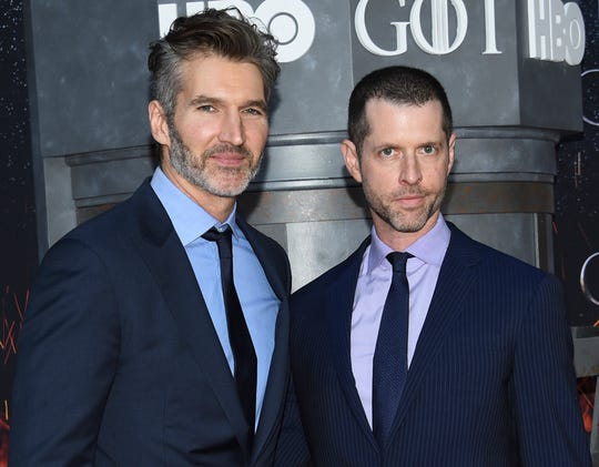 "Creator/executive producers David Benioff, left, and D. B. Weiss attend HBO's ""Game of Thrones"" final season premiere at Radio City Music Hall in New York."