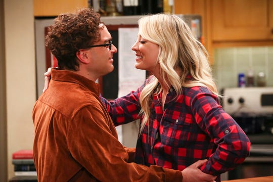 """Johnny Galecki, left, and Kaley Cuoco in a scene from the series finale of """"The Big Bang Theory."""""""