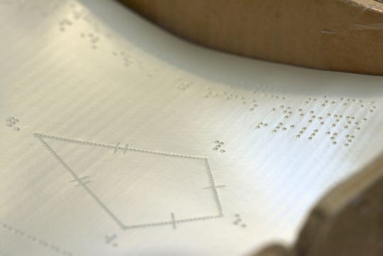 This is a detail of thermal-copied braille mathematics forms.