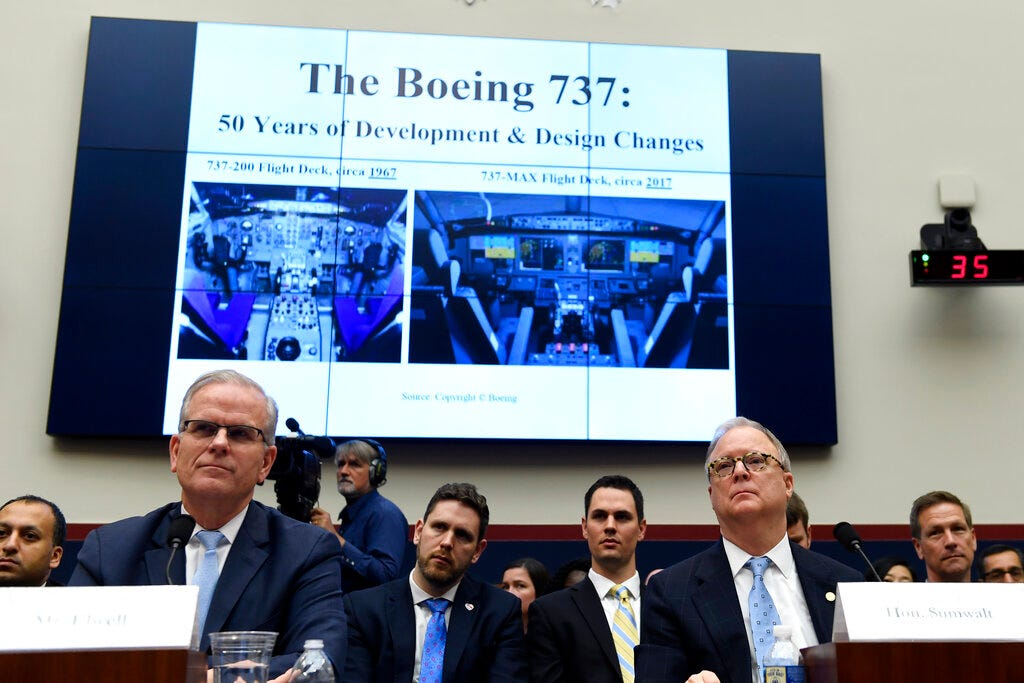 Daniel Elwell, front left, acting administrator of the Federal Aviation Administration, and Robert L. Sumwalt, front right, chairman of the National Transportation Safety Board, testify before a House Transportation Committee hearing on Capitol Hill in Washington, Wednesday, May 15, 2019, on the status of the Boeing 737 MAX aircraft.