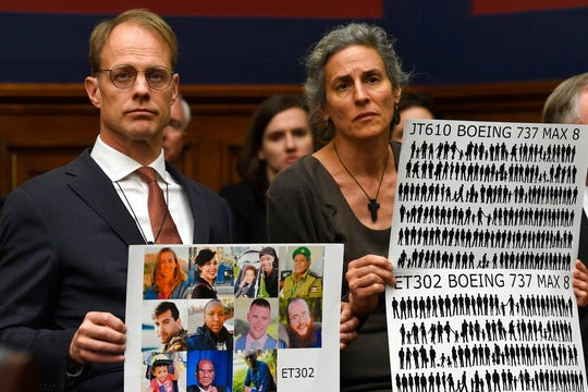Michael Stumo and Nadia Milleron, right, parents of Samya Stumo, 24, a Massachusetts resident who died in the Ethiopian plane crash, listen during a House Transportation Committee hearing on Capitol Hill in Washington, Wednesday, May 15, 2019, on the status of the Boeing 737 MAX aircraft.