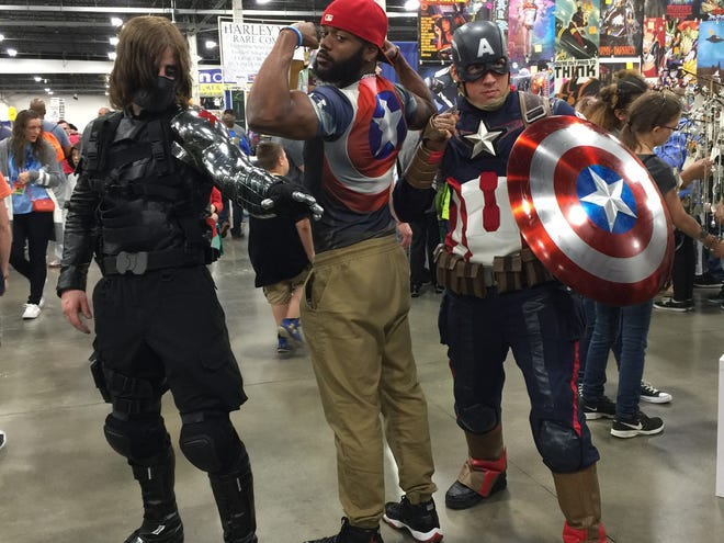 "Captain America and pals ""cosplay"" at the 2017 Motor City Comic Con."