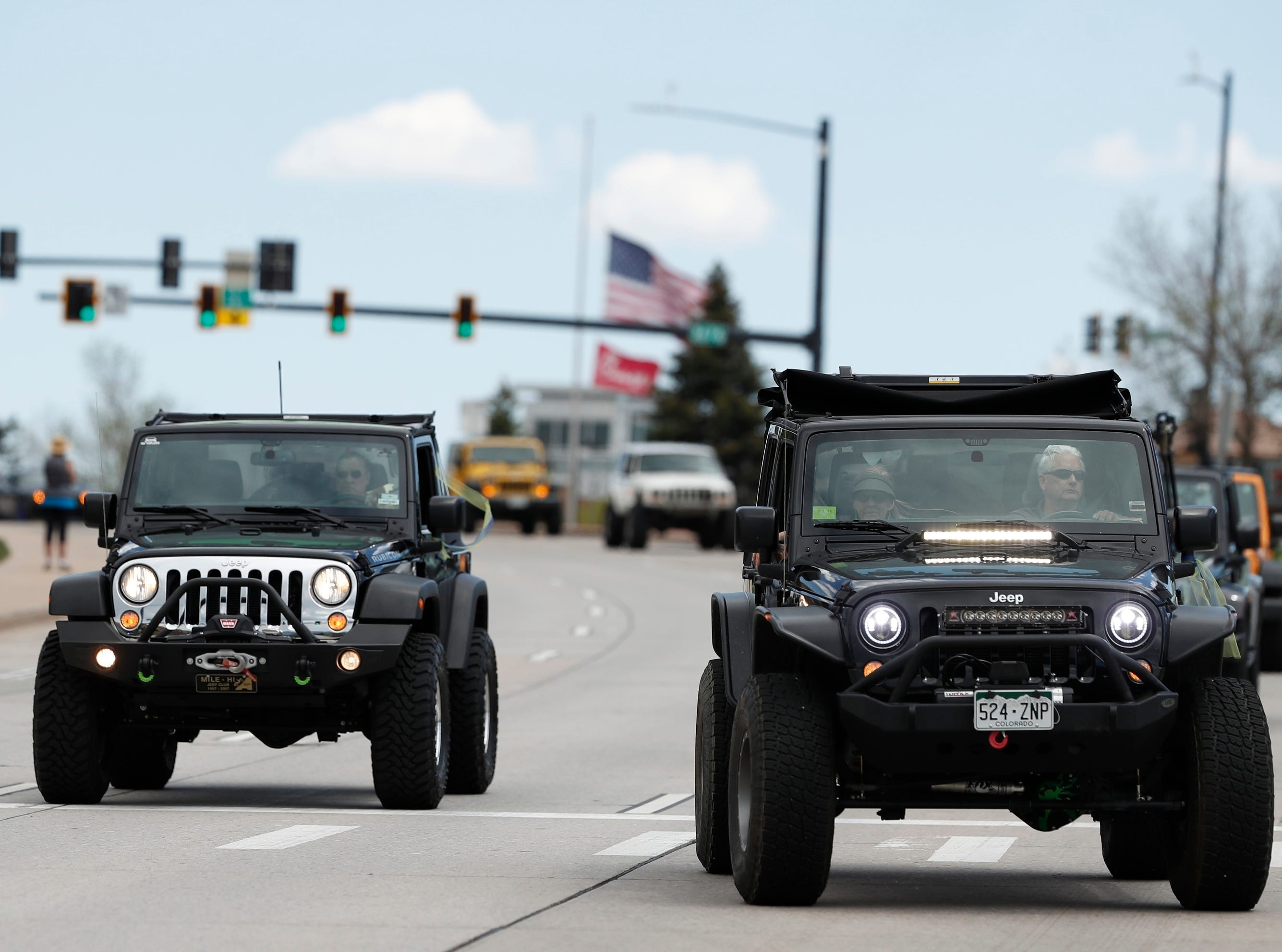 More than 600 Jeeps arrive at a memorial serve for Kendrick Castillo Wednesday, May 15, 2019, in Highlands Ranch, Colo.