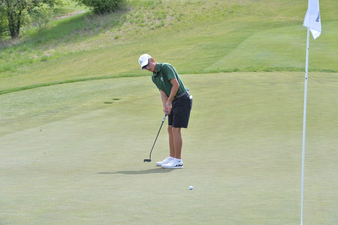 CSU's Davis Bryant watches his putt roll toward the hole during an NCAA Men's Golf Regional May 13-15, 2019, at Palouse Ridge Golf Club in Pullman, Wash.