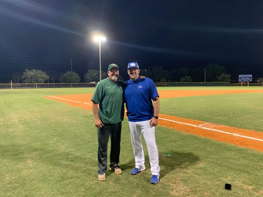 Former major league pitchers Scott and Willie Eyre were reunited in opposite dugouts Tuesday night, as they were the pitching coaches for their respective teams.