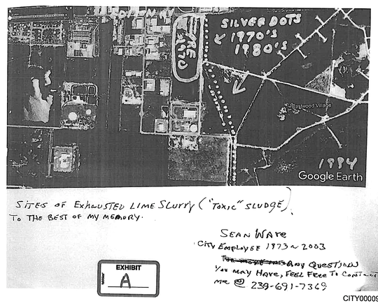 A map drawn by former City of Fort Myers employee Sean Ware shows where he dumped contaminated lime sludge in 1994 and in the 1970s and '80s before that. The city included the map and a statement by Ware in its response to a renewed claim of open dumping made Wednesday by lawyers for residents around the city's South Street landfill.