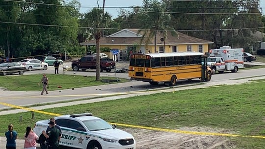 One man was killed when his motorcycle smashed into the rear of a Lee County school bus in Bonita Springs Wednesday afternoon.