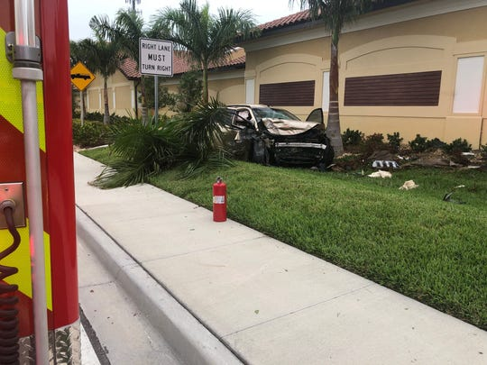Cape Coral Fire Department's Engine 6, Rescue 6, and Battalion 1 responded to a vehicle crash A1 Shelters on Chiquita Boulevard on Tuesday, May 14, 2019. The driver was taken to the hospital.