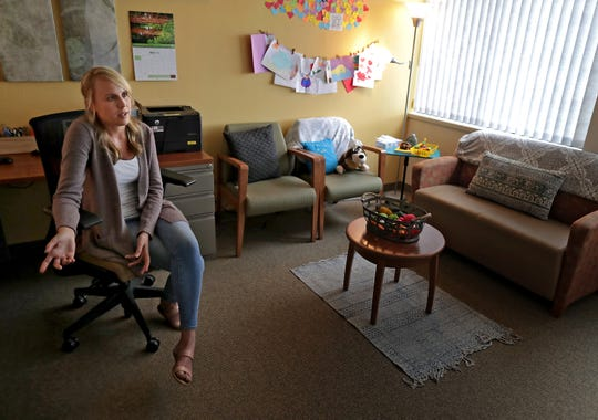 Licensed Clinical Social Worker Samantha Rashid in her office at Catalpa Health in Grand Chute.
