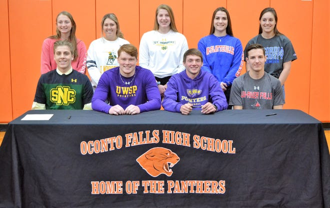 Nine Oconto Falls High School students made commitments to play sports at Division 3 colleges in Wisconsin at a signing day event on May 10. They are, listed with their sport, college and planned major, from left, back row: Samantha Shallow, track, UW-Plattevile, physical therapy; Joslyn Tolzman, track, St. Norbert, psychology; Emily Gonnering, track, St. Norbert, psychology/music; Catherine Moeller, track, UW-Platteville, environmental engineering; Katelyn Albrecht, softball; Concordia (Mequon), biomedicine; front row, Aaron Gonnering, track, St. Norbert, marketing and branding communication; Dakota Carriveau, football, UW-Stevens Point, physical education/coaching; Kade Brabant, football, UW-Stevens Point; marketing; Brent Wolf, track, UW-River Falls, dairy science/ag business.