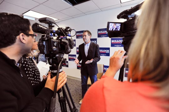 Gov. Steve Bullock, Democratic presidential candidate, holds a roundtable discussion with members of the local media Tuesday at his campaign headquarters in Helena.