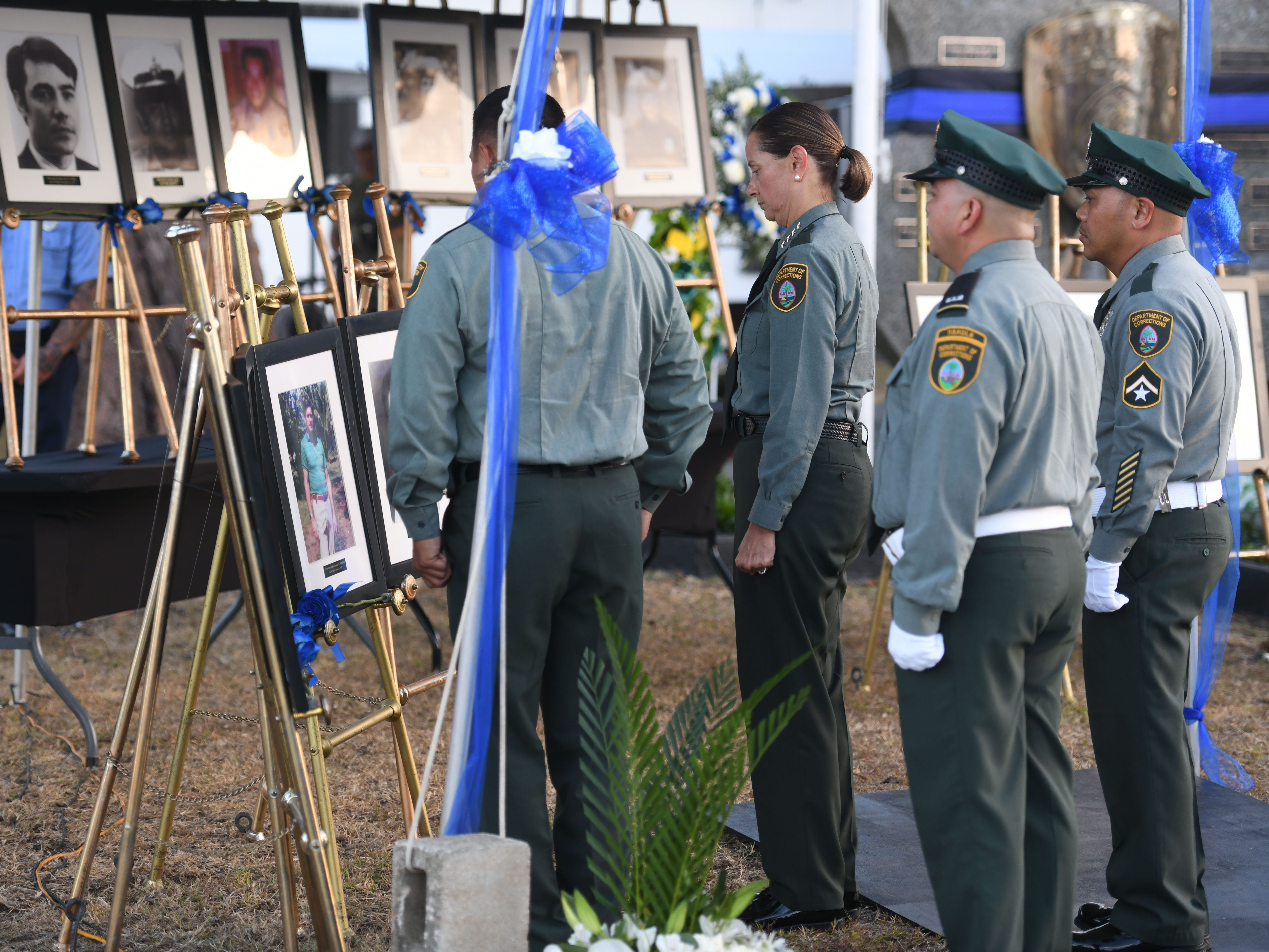 The service of Guam Department of Corrections Officer Douglas Mashburn is remembered by fellow officers during the Peace Officers' Memorial Service and Wreath Laying Ceremony held at the Guam Police Department's Badge Memorial Park in Hagåtña on Wednesday, May 15, 2019.