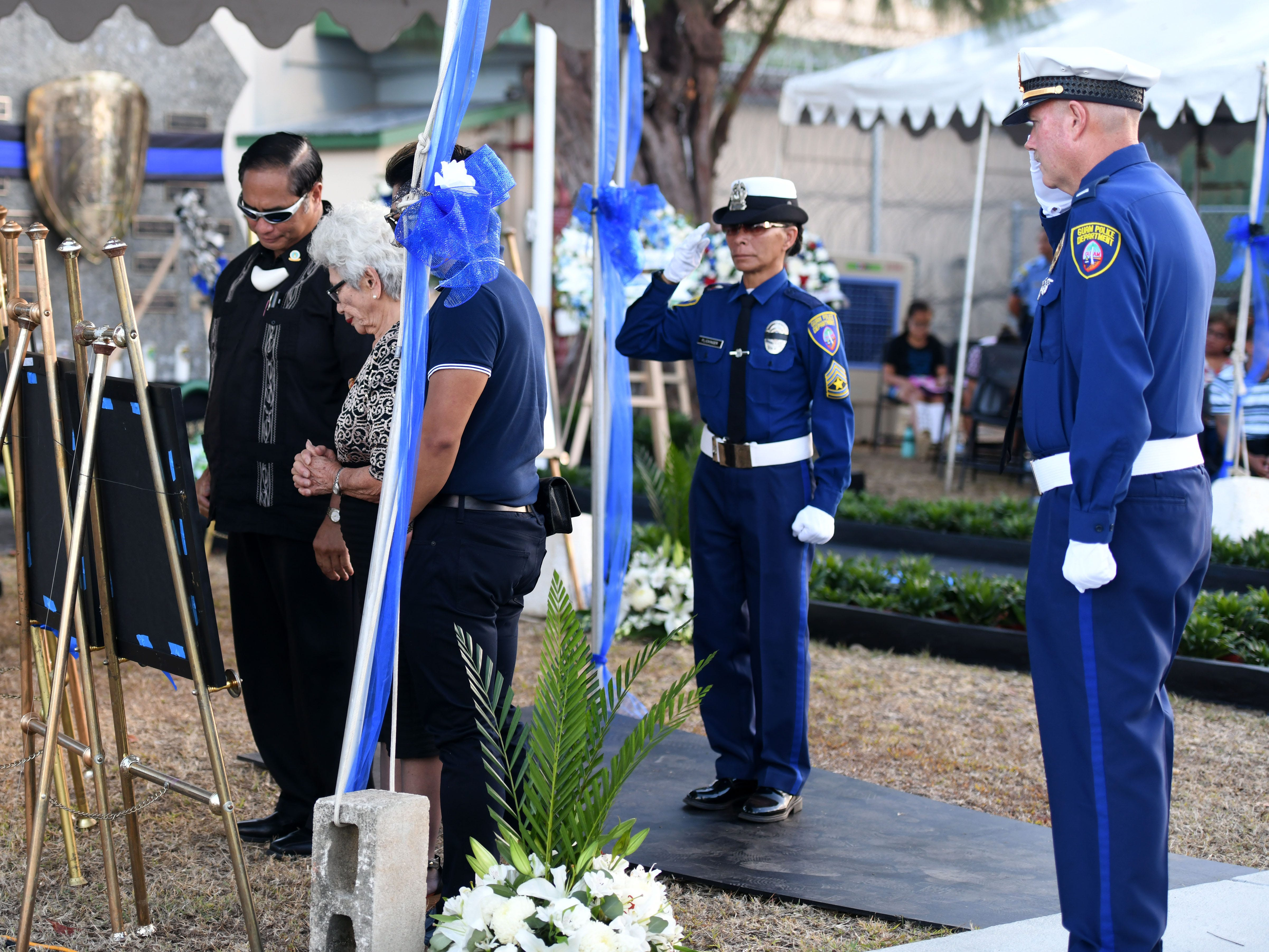The service of Police Lt. Francisco Toves is remembered during the Peace Officers' Memorial Service and Wreath Laying Ceremony held at the Guam Police Department's Badge Memorial Park in Hagåtña on Wednesday, May 15, 2019.