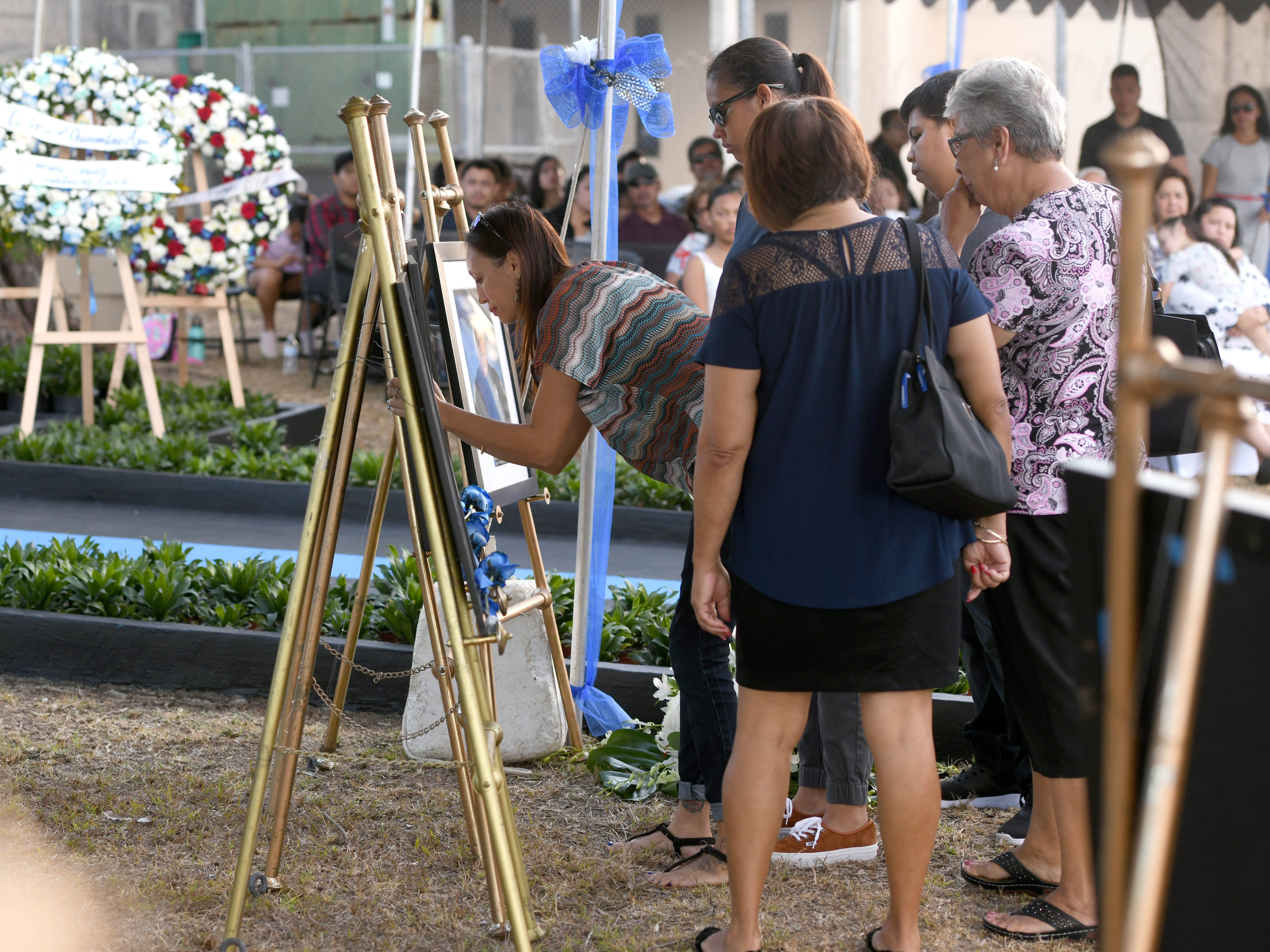 The service of Police Officer Frankie Eugene Smith is remembered during the Peace Officers' Memorial Service and Wreath Laying Ceremony held at the Guam Police Department's Badge Memorial Park in Hagåtña on Wednesday, May 15, 2019.