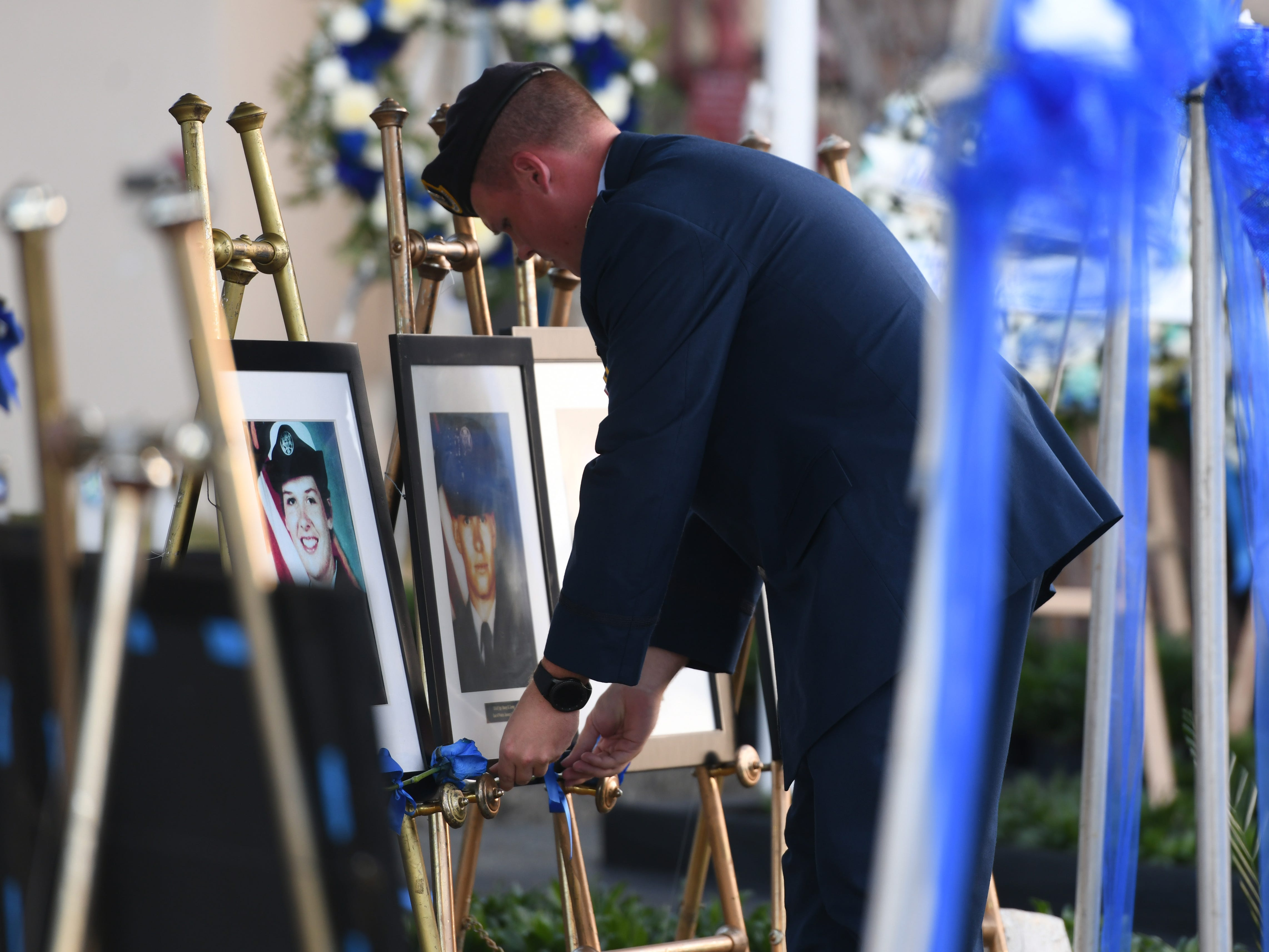 The service of U.S. Air Force Sgt. Stacey Levay is remembered during the Peace Officers' Memorial Service and Wreath Laying Ceremony held at the Guam Police Department's Badge Memorial Park in Hagåtña on Wednesday, May 15, 2019.