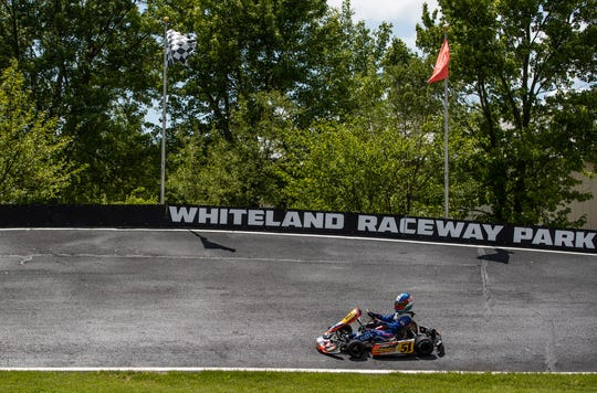Elliot Cox works his way around a bank during a practice run at Whiteland Raceway Park in Whiteland, Ind., on May 15, 2019.