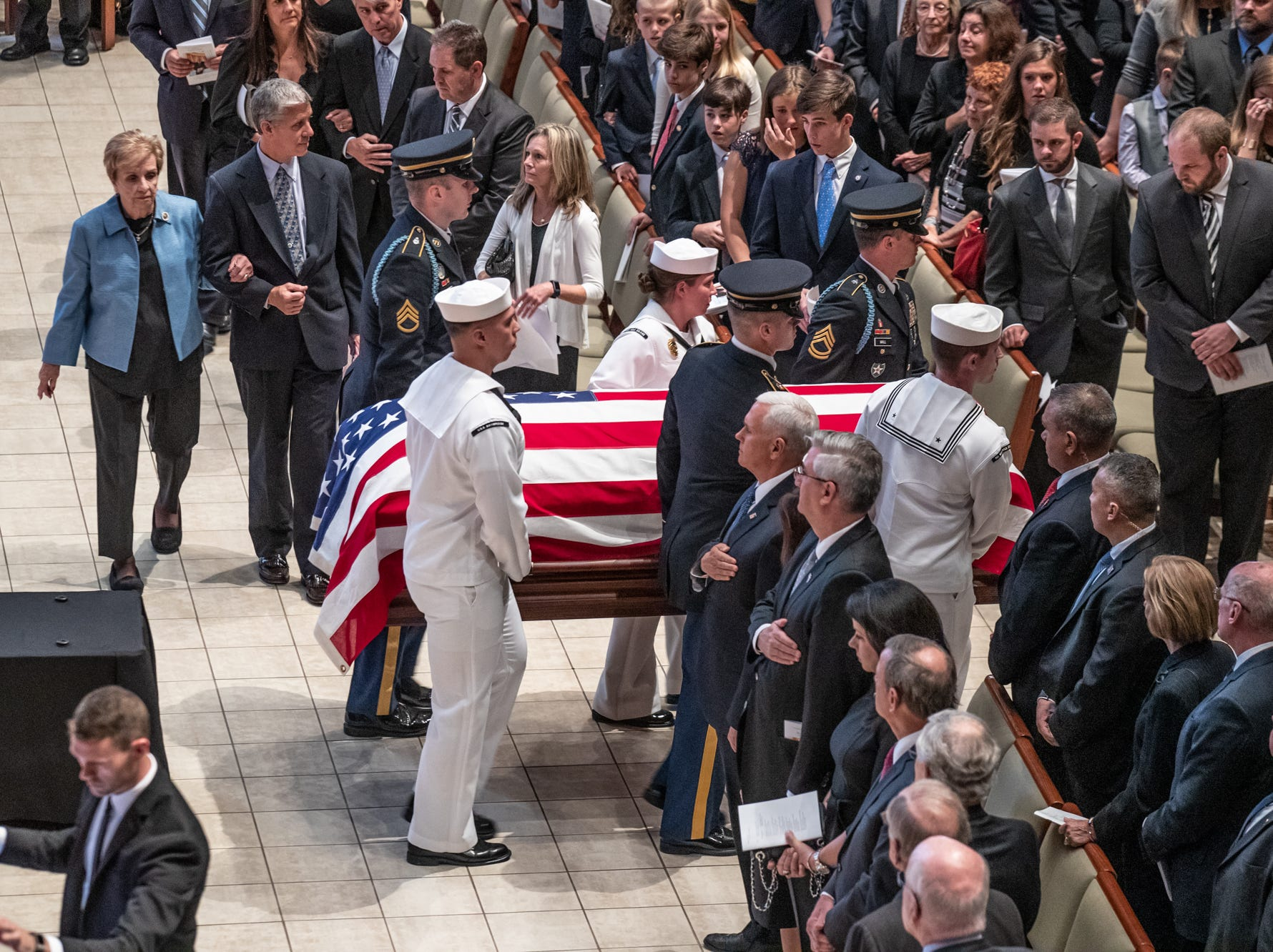 The casket of former U.S. Sen. Richard Lugar is geared by the Honor Guard after a memorial service held at Saint Luke's United Methodist Church in Indianapolis, on Wednesday, May 15, 2019. Lugar served as mayor of Indianapolis from 1968 to 1975 and U.S. senator from 1977 to 2013. He died April 28, 2019, at the age of 87.