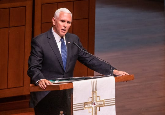 Vice President Mike Pence, speaks during a memorial service for former U.S. Senator from Indiana, Richard Lugar, during a memorial service held at Saint Luke's United Methodist Church in Indianapolis, on Wednesday, May 15, 2019. Lugar served as mayor of Indianapolis from 1968 to 1975 and U.S. senator from 1977 to 2013. He died April 28, 2019, at the age of 87.