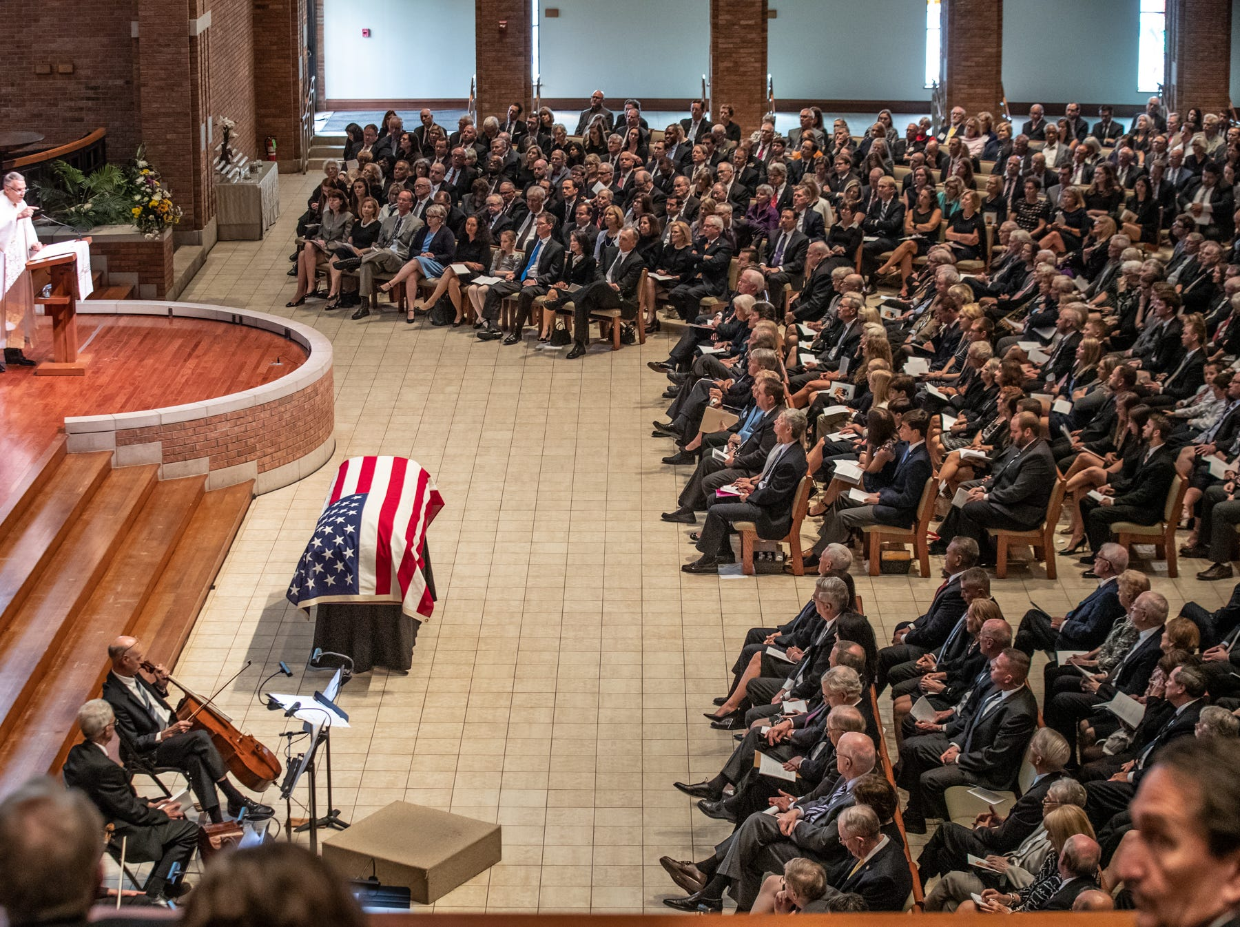 Dr. Robert E. Fuquay gives the benediction during a memorial service for former Indiana Senator, Richard Lugar, held at Saint Luke's United Methodist Church in Indianapolis, on Wednesday, May 15, 2019. Lugar served as mayor of Indianapolis from 1968 to 1975 and U.S. senator from 1977 to 2013. He died April 28, 2019, at the age of 87.